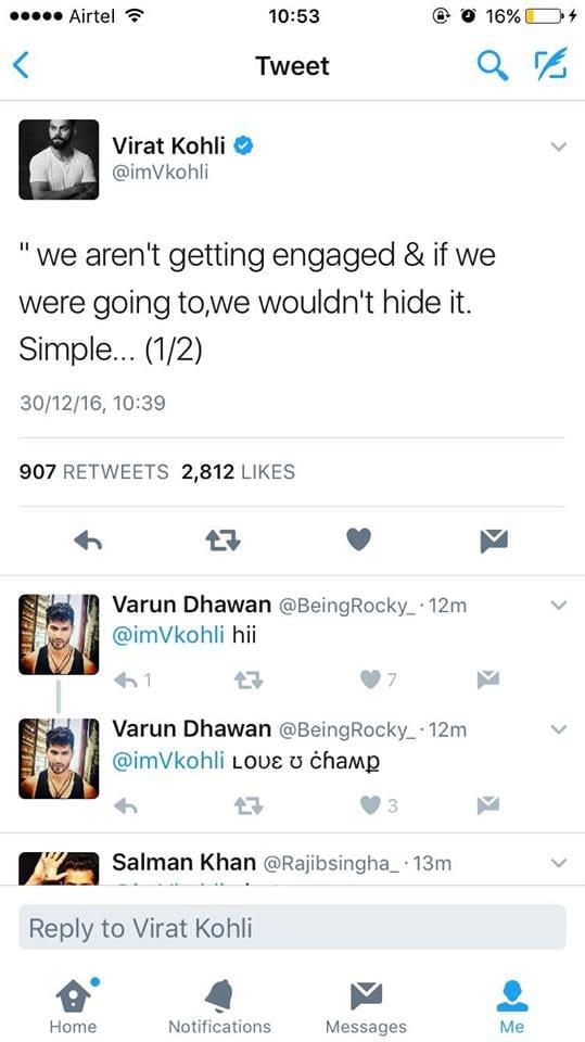 Virat Reacts On The Engagement Rumors With Anushka Sharma - अनुष्का से सगाई की अफवाह पर बोले विराट कोहली !