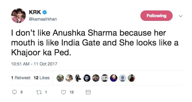 WTF: KRK Just Compared Anushka Sharma To India Gate & Khajoor Ka Ped!