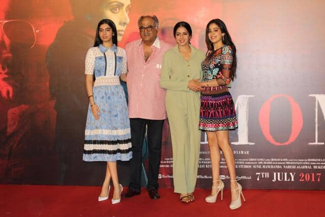 In Pictures: Jhanvi And Khushi Kapoor Accompany Sridevi At The MOM Trailer Launch!