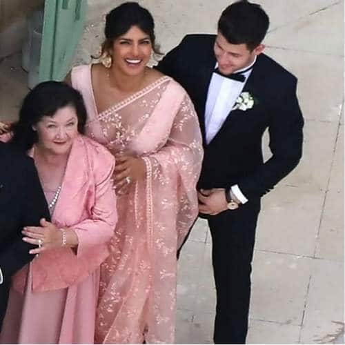 Priyanka Chopra Jonas In A Pink Saree Is Our Favorite Thing About Joe Jonas And Sophie Turner's Fairy-Tale Paris Wedding