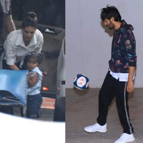 Spotted: Sunny Leone Spotted With Daughter, Kartik Aaryan Shows Off His Soccer Skills!