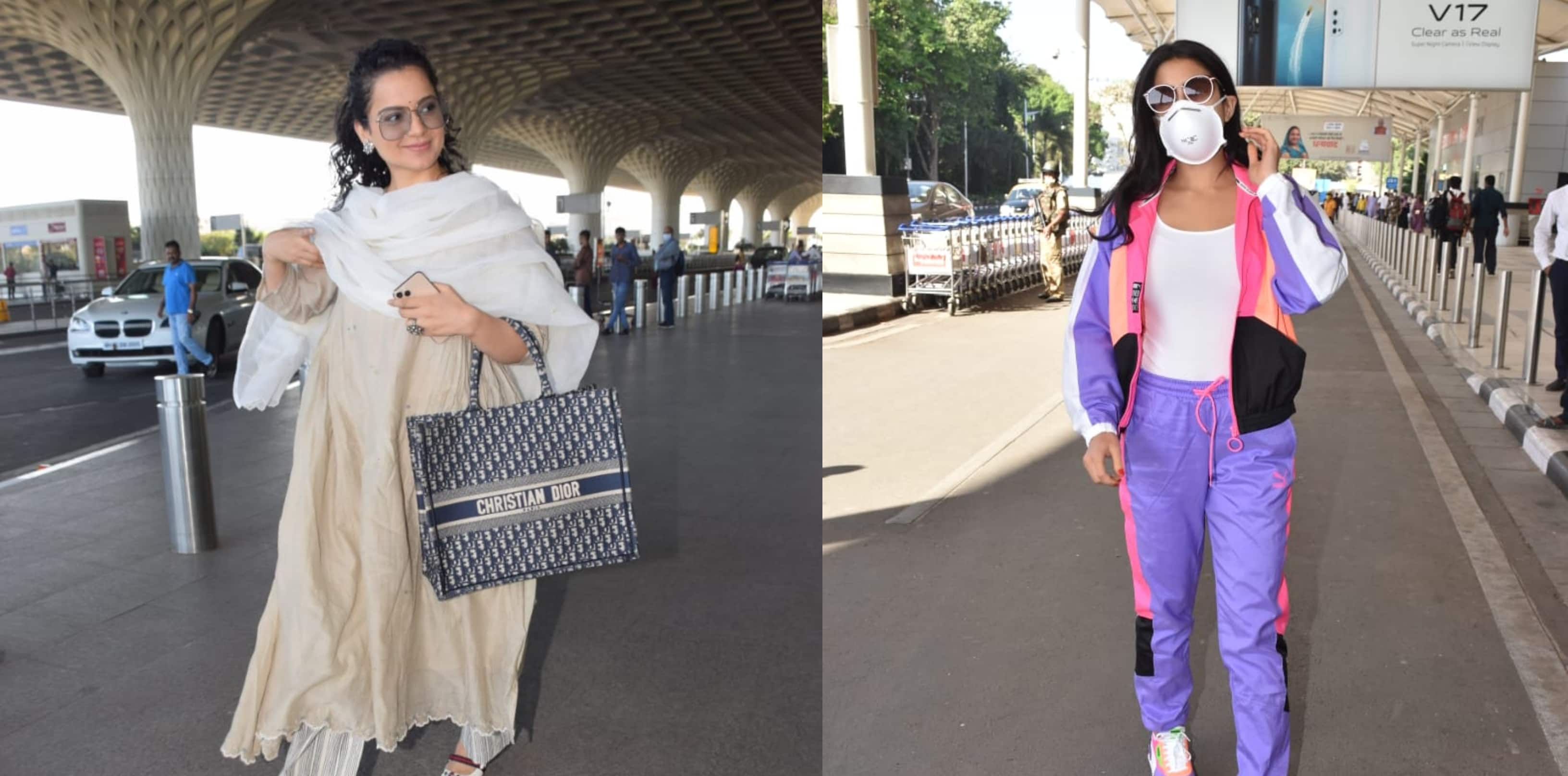 Spotted: Sara Ali Khan Wears A Mask To The Airport While Kangana Ranaut Flaunts Her Dior Bag!