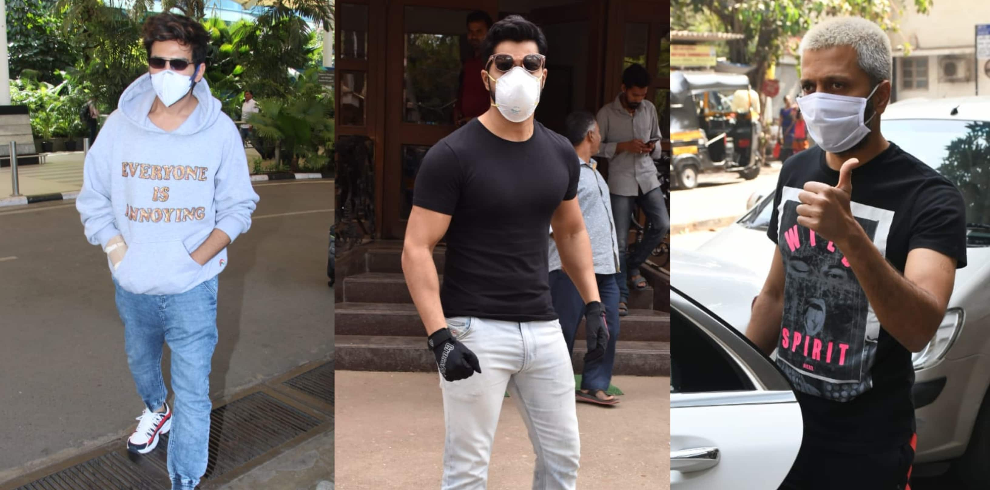 Spotted: Coronavirus Scare Grips Bollywood, Varun, Kartik And Other Stars Step Out With Their Masks On