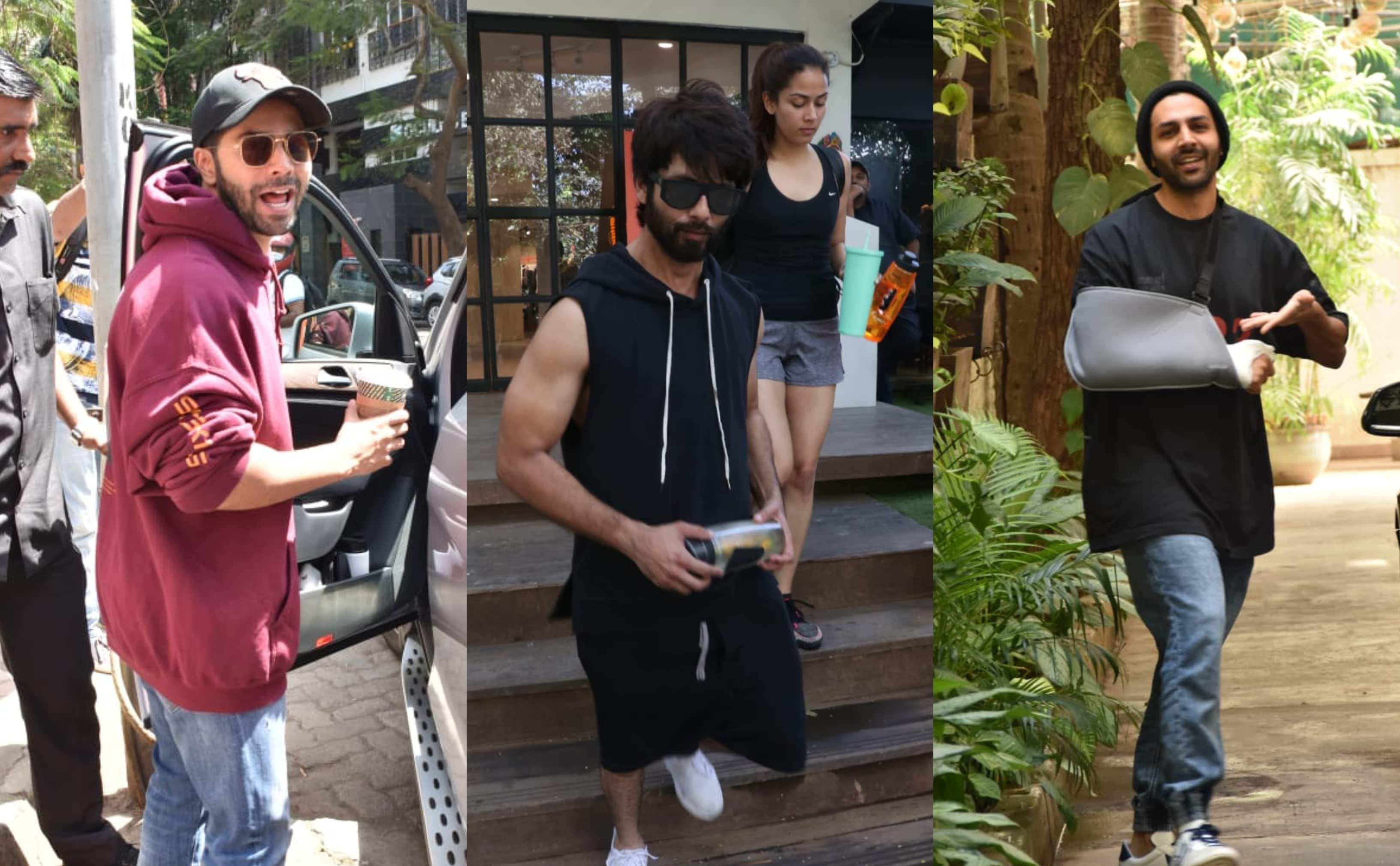 Spotted: Varun Dhawan, Kartik Aaryan Enjoy The Sunny Day; Shahid And Mira Hit The Gym