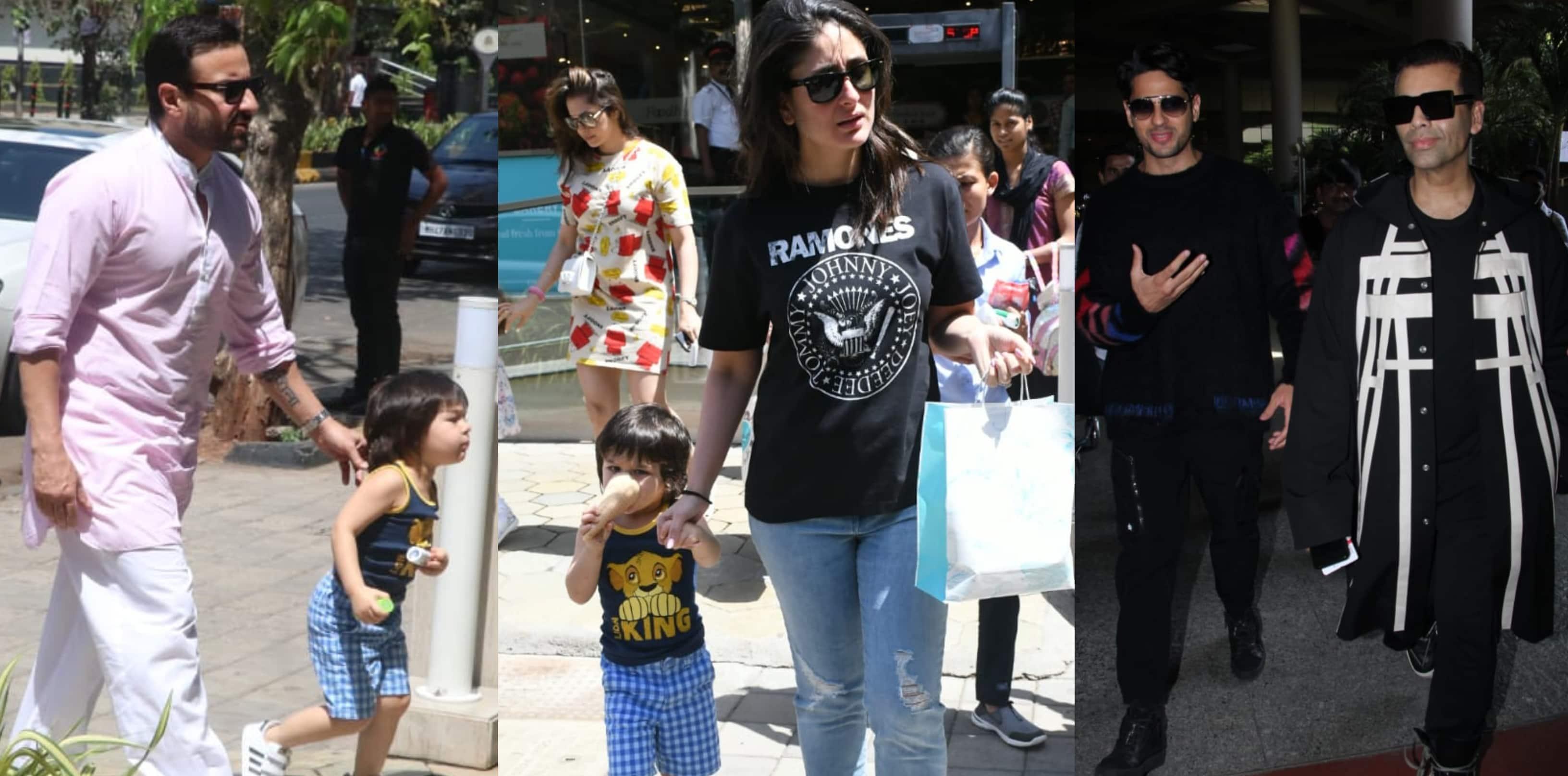 Spotted: Taimur Enjoys Ice-Cream With Kareena And Saif, Sidharth Malhotra- Karan Johar Seen Together At Airport