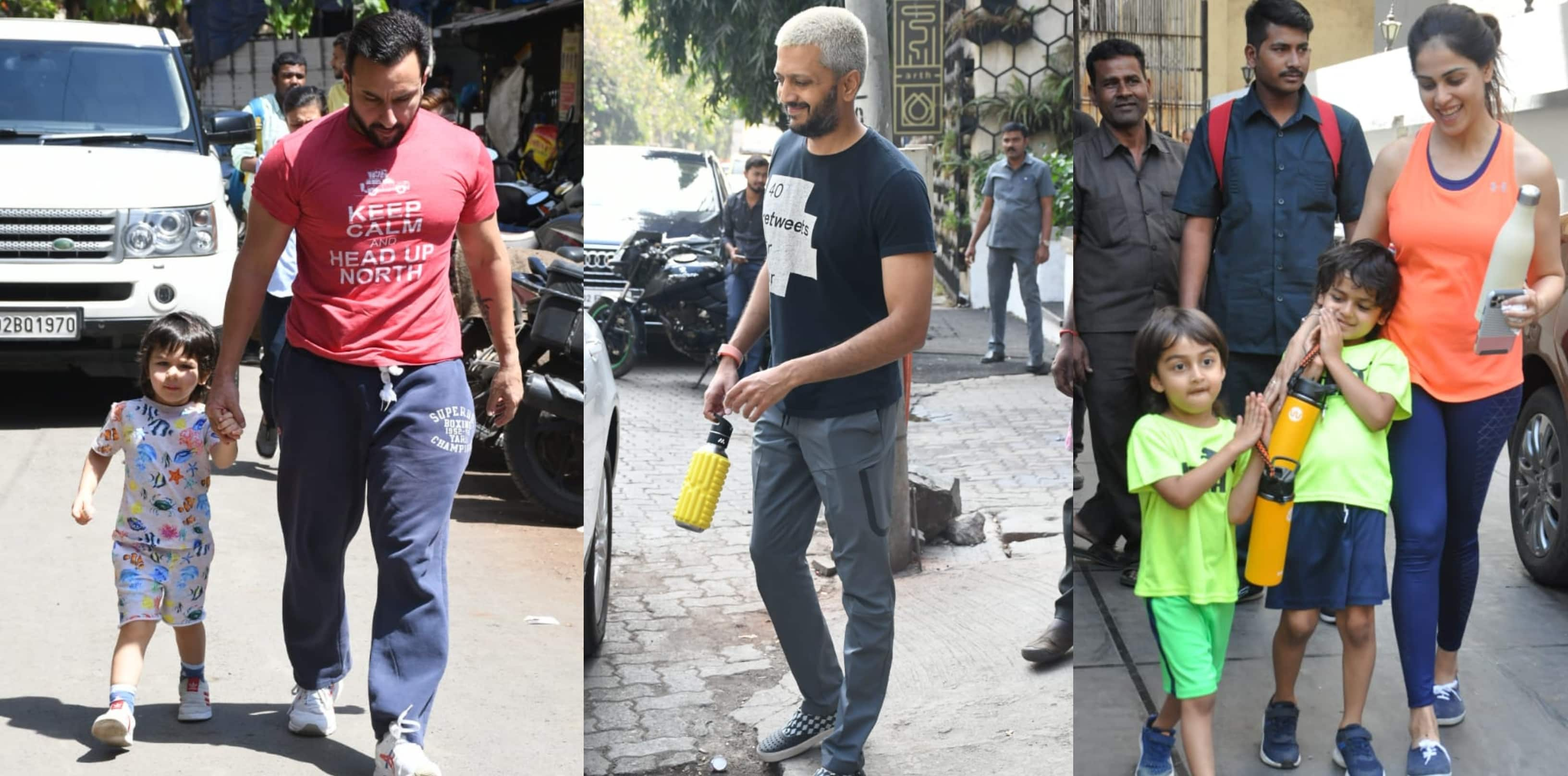Spotted: Saif Ali Khan Takes Taimur To Dance Class, Riteish Genelia Also Seen With Their Kids!