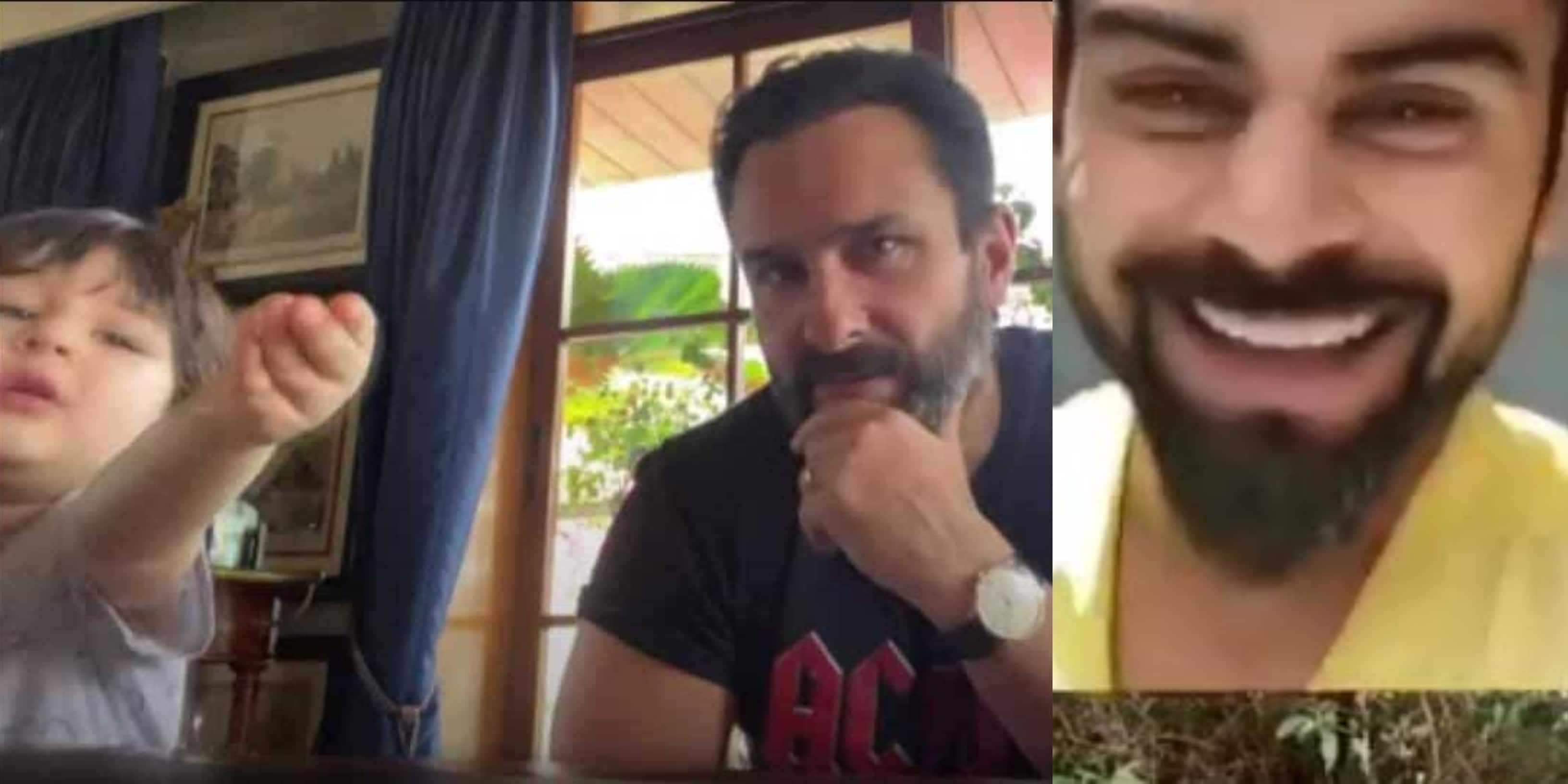 Taimur Makes An Appearance In Another Saif Ali Khan Interview Virat Kohli Lights Up As Anushka Sharma Checks In On Him Desimartini