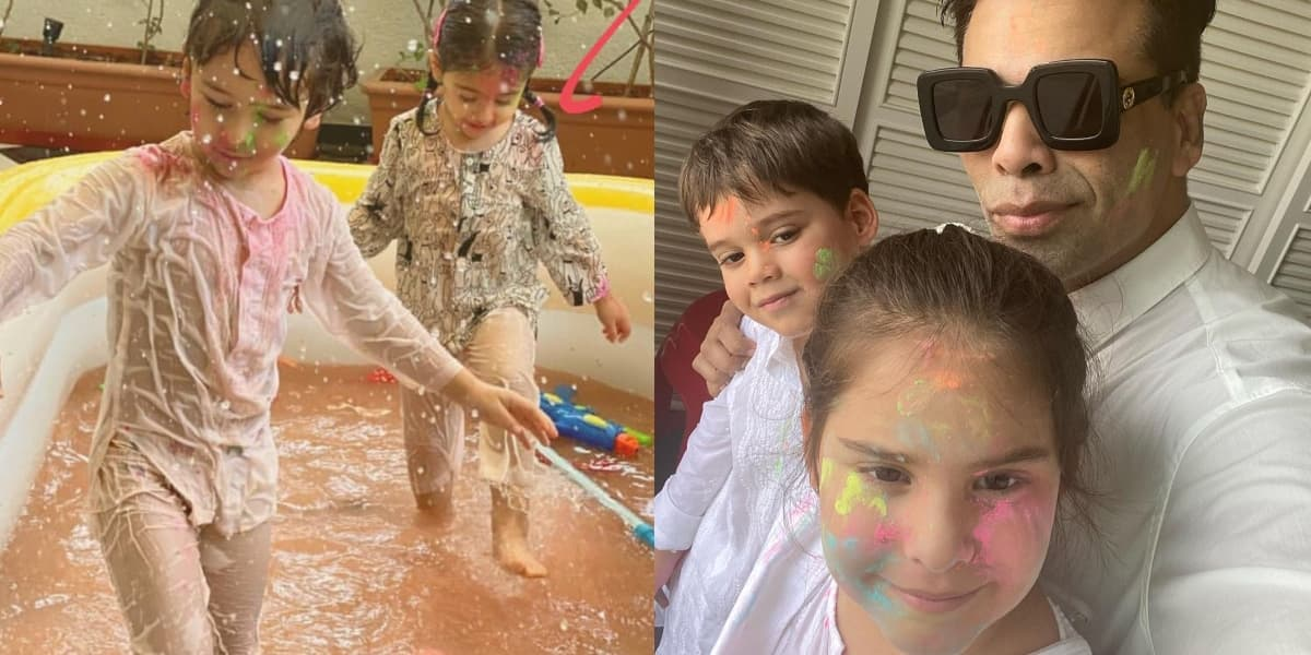 Tamiur Ali Khan Poses Like A Rockstar Playing Holi With Inaaya, Karan Johar's Twins Yash And Roohi Play With Gulaal; See Pics