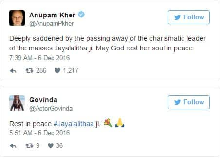 Film Fraternity Mourns The Loss Of Tamil Nadu Chief Minister Jayalalithaa!