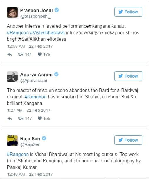 Rangoon Review: Here's How Celebs Have Reacted After Watching The Movie!