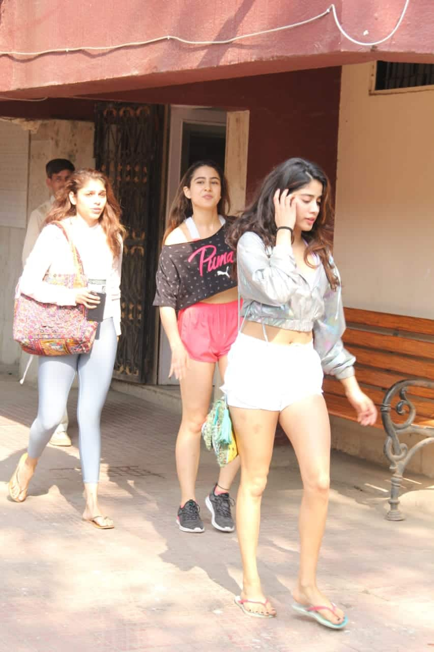 Sara Ali Khan and Janhvi Kapoor - They were clicked together post their work-out session.
