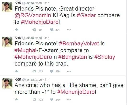 KRK's Reaction To Mohenjo Daro Will Give You A Much Needed Laughter Dose!