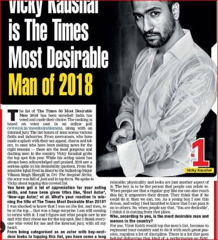Vicky Kaushal Is The Most Desirable Of 2019 And We Ask Who Else But Him