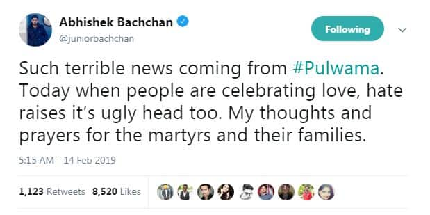 Here Is How Bollywood Expressed Their Grief Over The Pulwama Attack On Twitter
