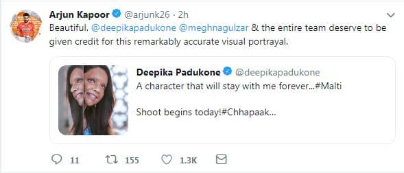 Bollywood Can't Stop Raving About Deepika Padukone's First Look From Chhapaak