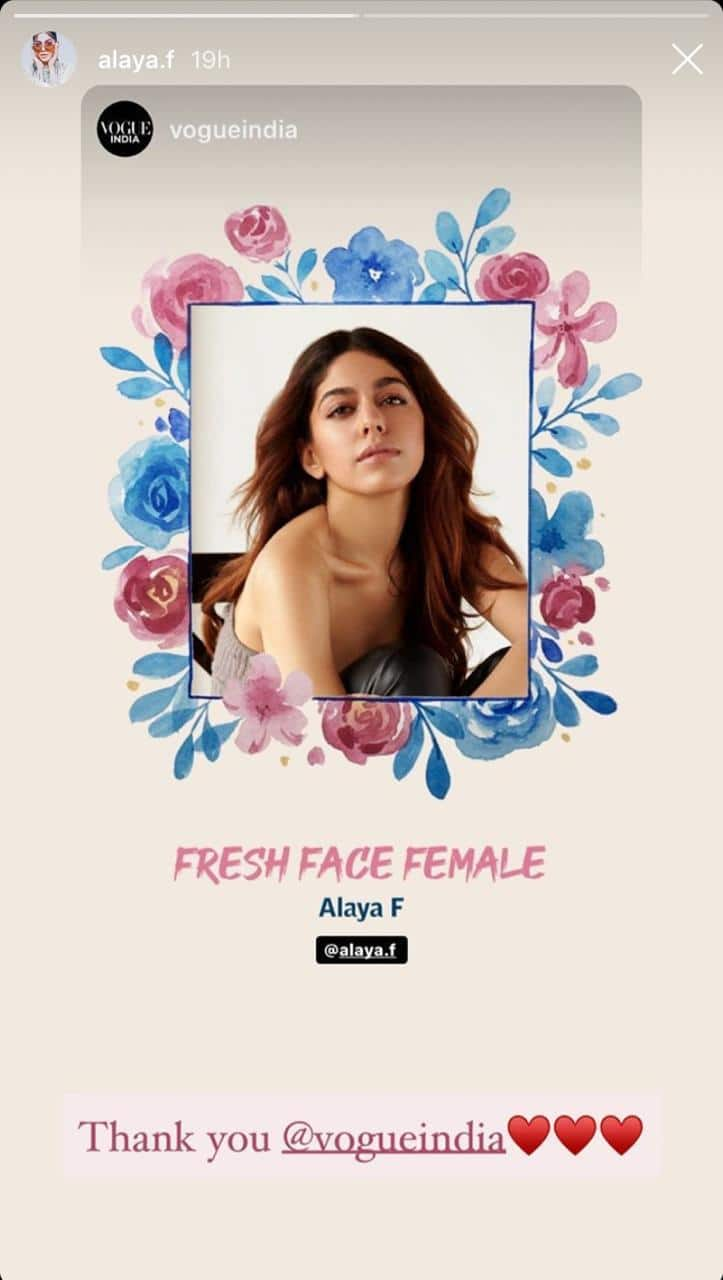 Alaya F Bags Her Very First Award For Debut Film Jawaani Jaaneman At Vogue Beauty Festival