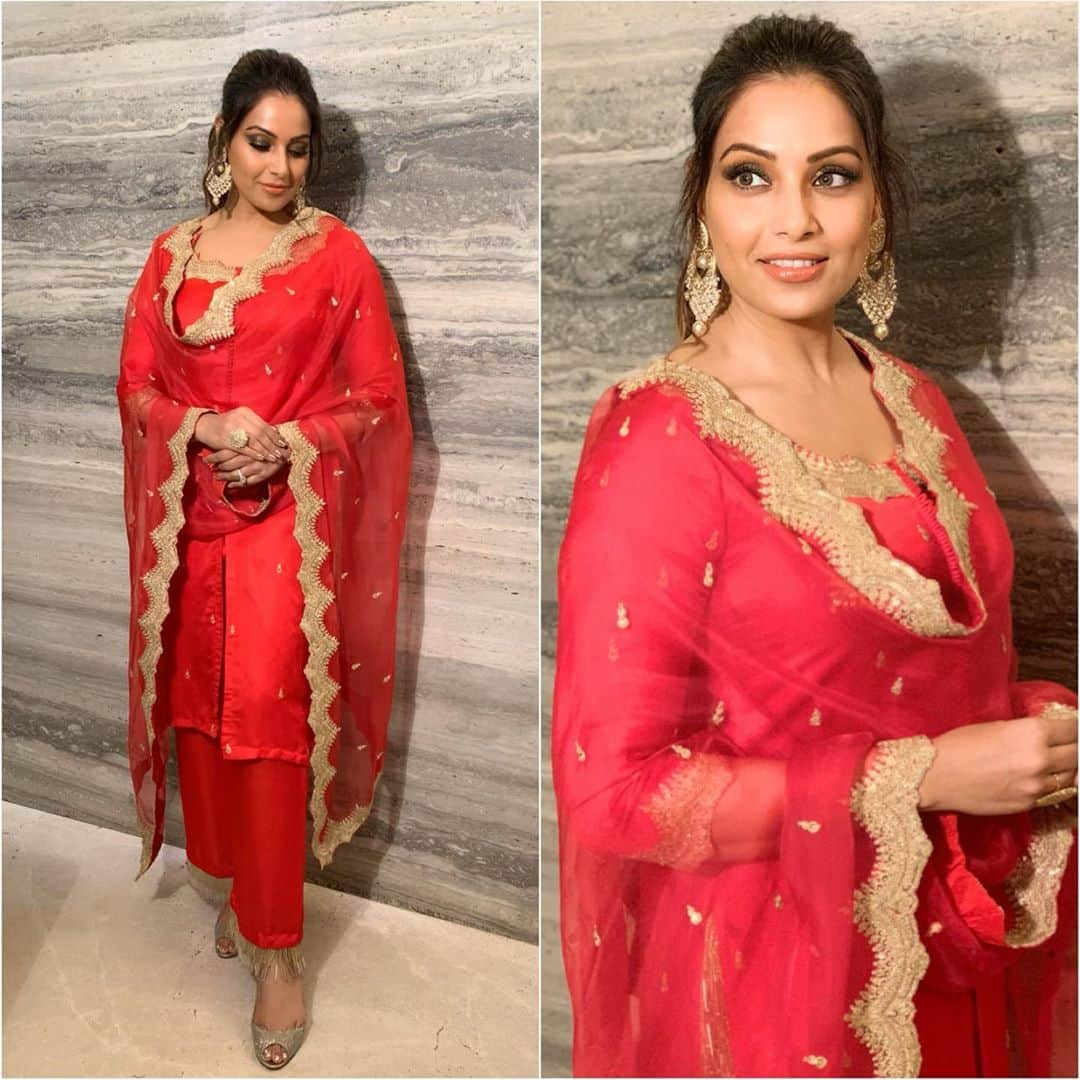 Bipasha Basu's Red Desi Look For Your First Diwali After Wedding