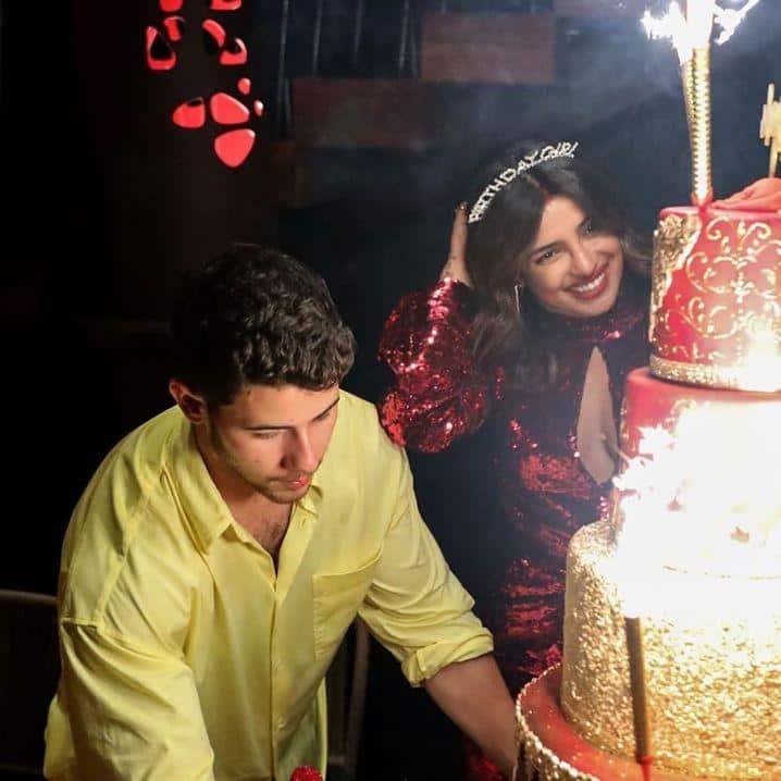 Priyanka Chopra Celebrates Birthday With A Giant Cake, Fans Claim It's Taller Than Nick Jonas!
