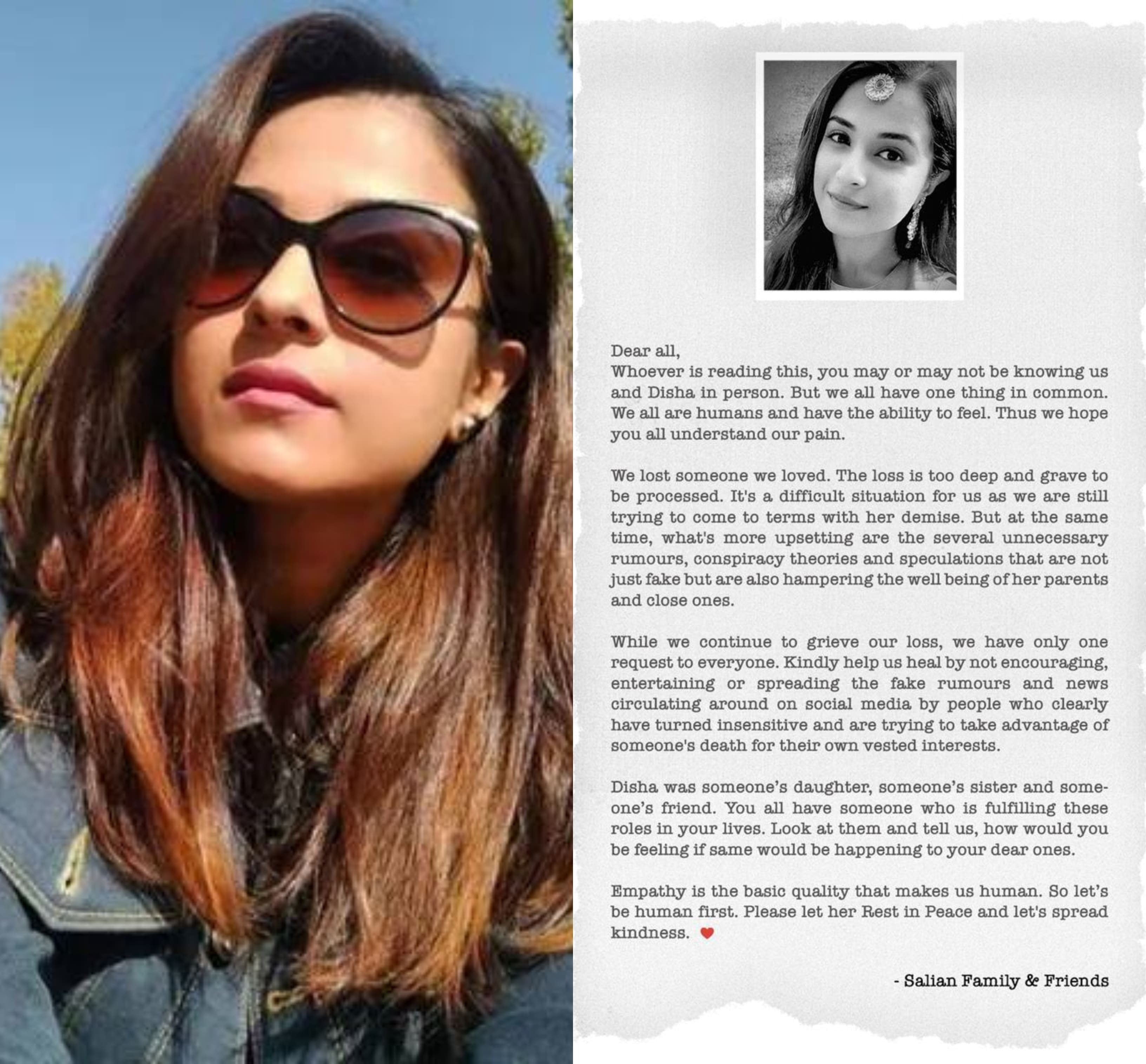 Sushant Singh Rajput's Ex Manager Disha Salian's Family Issues Statement: Help Us Heal By Not Encouraging The Fake Rumours