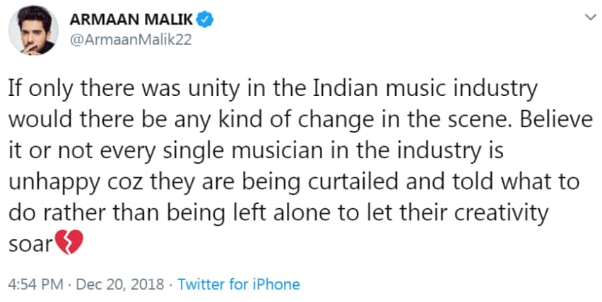 Armaan Malik Reacts To Sonu Nigam's 'Music Mafia' Comment , 'Let People Play Twitter Twitter Only'