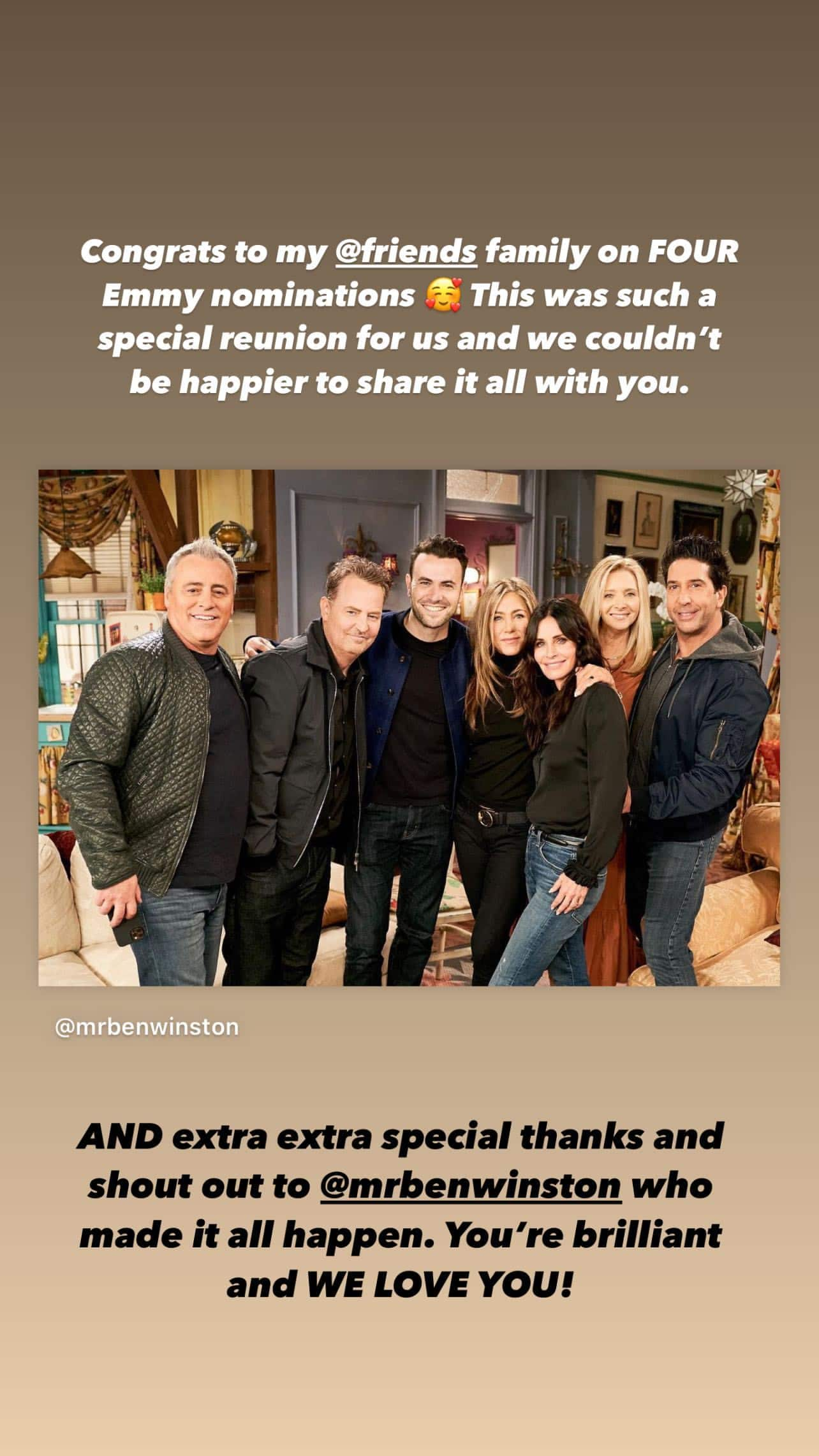 Friends Reunion bags 4 Emmy nominations, elated cast celebrates with special posts