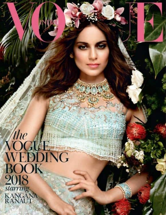 Kangana Ranaut looks every bit of  a celestial bride in a mint green lehenga on The Vogue Wedding Book 2018