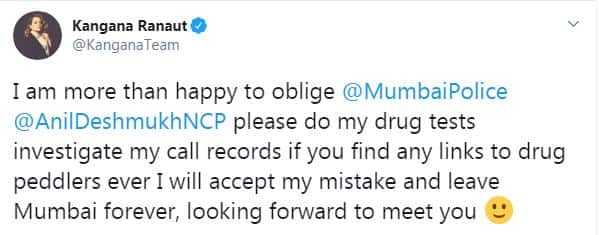 Kangana Ranaut Reacts Drug Probe Being Ordered On Her: If You Find Links To Drug Peddlers I Will Leave Mumbai Forever