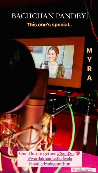 Kriti Sanon shares first look of her character Myra from Bachchan Pandey as she dubs for the project: 'This one's special'