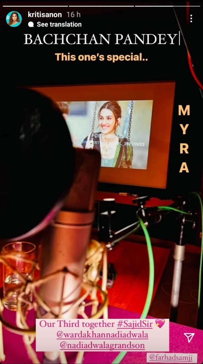 Bachchan Pandey: Kriti Sanon shares glimpse of her character Myra during dubbing sessions