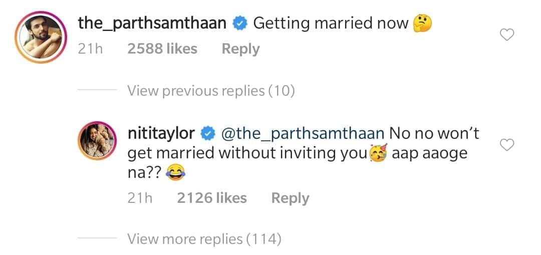 Niti Taylor Poses At A Wedding, Parth Samthaan Questions If She Is Getting Married; Her Reply Is A Winner