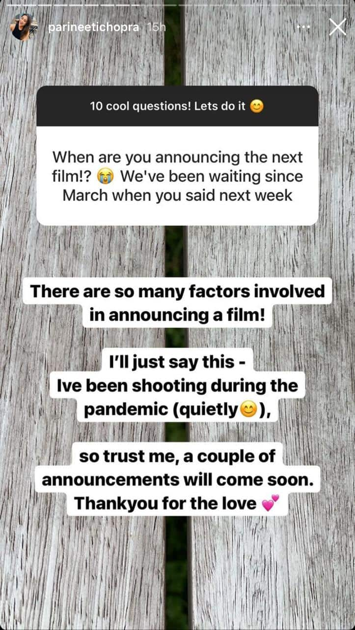 Parineeti Chopra reveals she has been shooting 'quietly' during pandemic; Says 'Announcements will come soon'