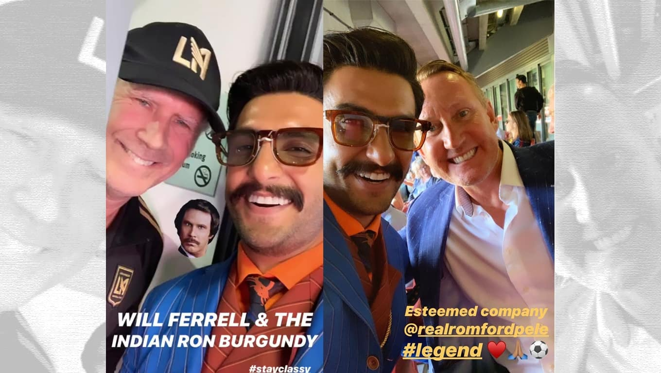 Ranveer Singh Gets Clicked With Hollywood Actor Will Ferrell And Former Arsenal Footballer Ray Parlour