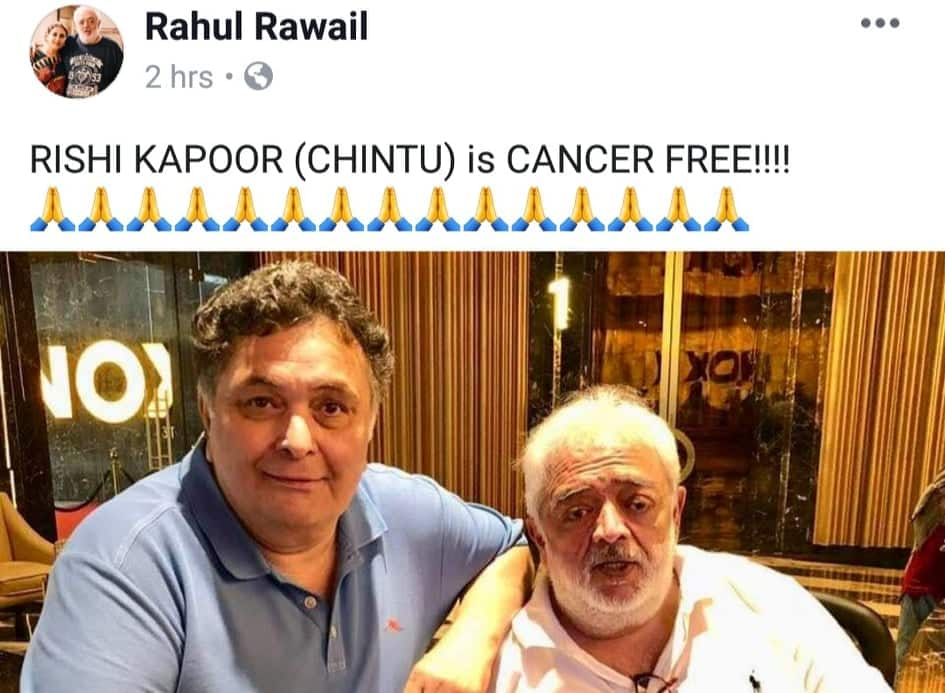 Rishi Kapoor Ailing From Cancer In New York? The His New Post By Director Rahul Rawail Says So!