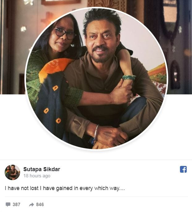 Irrfan Khan's Wife Sutapa Sikdar Writes A Note On The Late Actor, Says 'It's Not A Loss, It's A Gain Of The Things He Taught Us'
