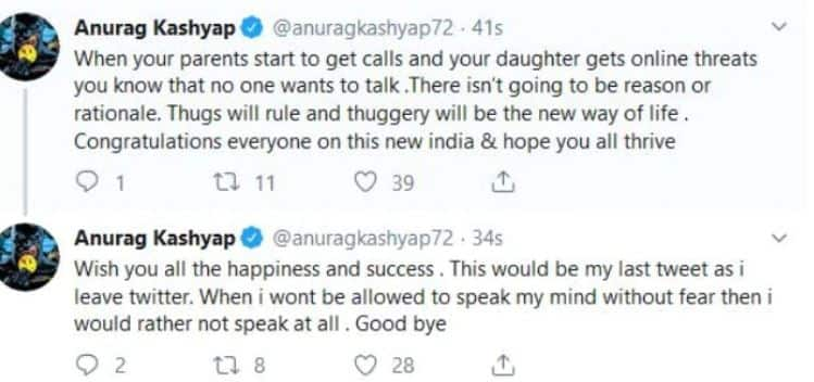 Anurag Kashyap Quits Twitter As Daughter And Parents Receive Death Threats