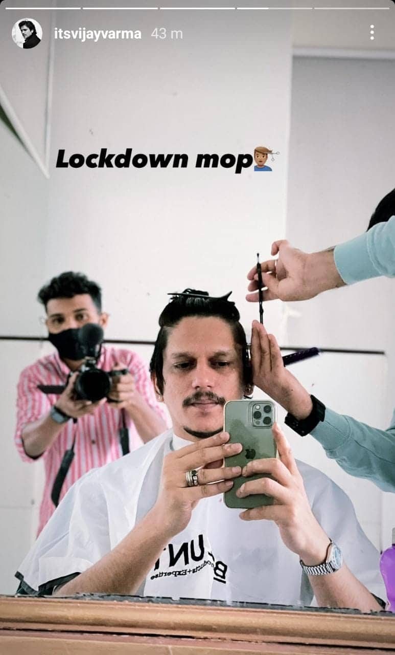 Vijay Varma finally gets a 'lockdown mop', and we wonder what's cooking