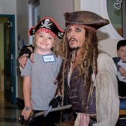 Johnny Depp Visits Children's Office As Jack Sparrow!