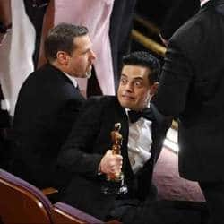 Rami Malek Loses Balance After Receiving Best Actor At Oscars 2019.