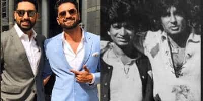 Abhishek Bachchan, Vicky Kaushal recreate their dads' pose from back in the day. See pic