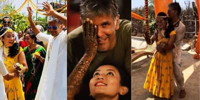 Check Out These Pictures From Milind Soman And Ankita Konwar's Haldi And Mehendi Ceremony!
