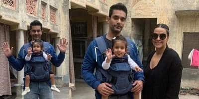 Neha Dhupia, Angad Bedi Visit Dad Bishan Bedi's Haveli With Mehr, See The Star Kid's First Clear Photos