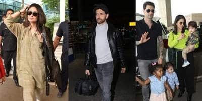 Spotted: Kareena Kapoor And Hrithik Roshan Show Up In Comfy Airport Look, Sunny Leone Snapped With Her Kids!