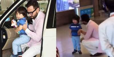 Taimur Ali Khan Cries At The Airport While Saif Ali Khan Patiently Consoles Him, Netizens Worry About The Munchkin Getting No Space