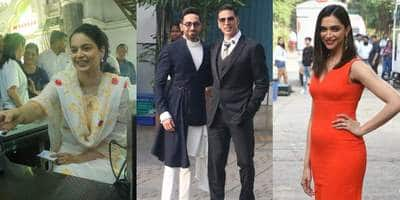Spotted: Ayushmann And Akshay Kumar Pose Together Before Leaving For Delhi, Kangana Ranaut Sells Tickets!