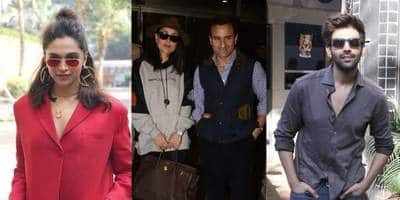 Spotted: Deepika Padukone Slays In Red For Chhapak Promotions, Kareena And Saif Sets The Temperature Soaring At The Airport