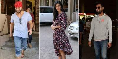 Vicky Kaushal Spotted At The Airport, Katrina Kaif Busy Promoting Bharat