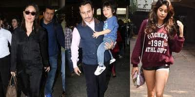 Spotted: Saif, Kareena And Taimur Return From Switzerland; Janhvi Kapoor Turns Heads Outside Gym