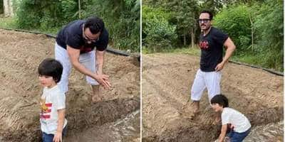 Saif Ali Khan Imparts Farming Lessons To Son Taimur In Pataudi While Kareena Kapoor Is Missing From The Photos