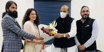 Kangana Ranaut Along With The Team Of Tejas, Visit Rajnath Singh For His 'Blessings'