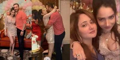 Birthday Girl Ankita Lokhande Gets Kiss From Boyfriend Vicky Jain, Grooves With Rashami Desai On Bollywood Songs